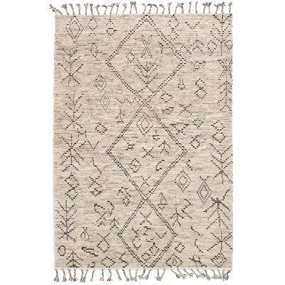 Canales Hand-Knotted Wool Cream Area Rug Rug Size: Rectangle 5'0