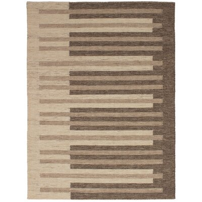 Labonte Handmade Kilim Wool Dark Brown Area Rug