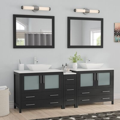 Karson Wooden 84 Double Bathroom Vanity Set with Mirror Base Finish: Espresso