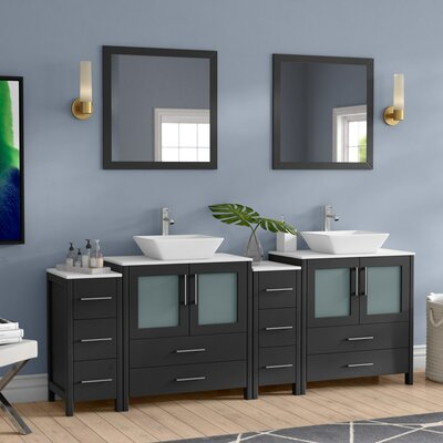 Karson Modern 84 Double Bathroom Vanity Set with Mirror Base Finish: Espresso