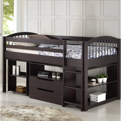 Junior Twin Loft Bed with Storage Drawer Bed Frame Color: Espresso
