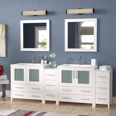 Karson 84 Double Bathroom Vanity Set with Mirror Base Finish: Espresso