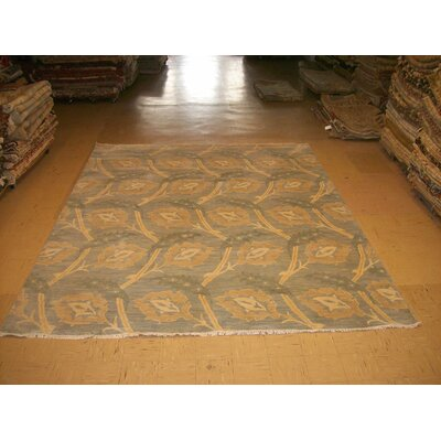 One-of-a-Kind Stringfellow Tobacco Leaf Hand-Woven Wool Sky Blue Area Rug