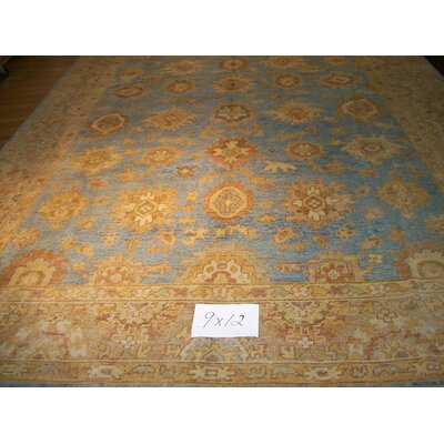 One-of-a-Kind Lucan Oushak Hand-Woven Wool Light Blue Area Rug