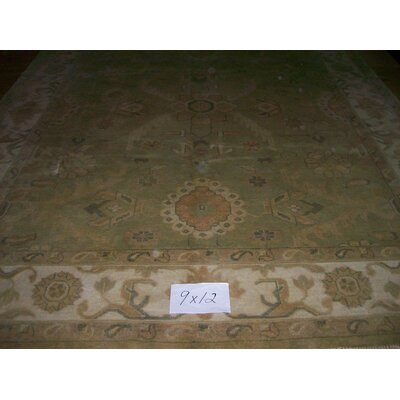 One-of-a-Kind Kiam Hand-Woven Wool Light Green Area Rug