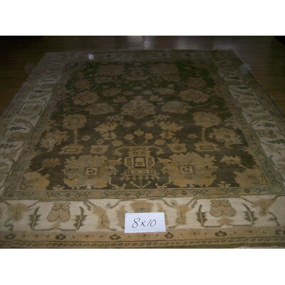 One-of-a-Kind Hiram Hand-Woven Wool Dark Olive Area Rug