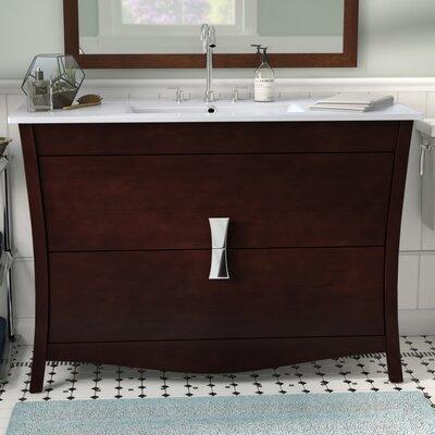 Cataldo Floor Mount 48 Single Bathroom Vanity Set Base Finish: Coffee, Faucet Mount: 4 Centers