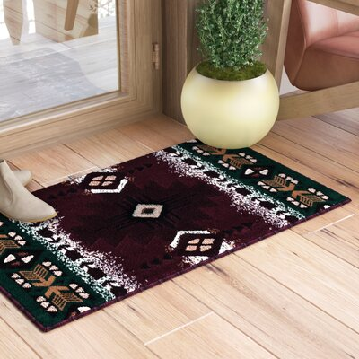 Iberide High-Quality Woven Native American Runner Double Shot Drop-Stitch Carving Doormat Color: Burgundy