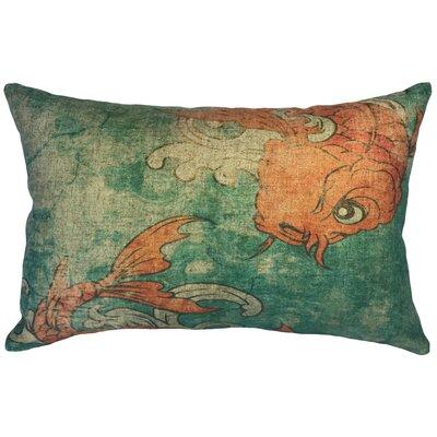 Bever Koi Linen Lumbar Pillow