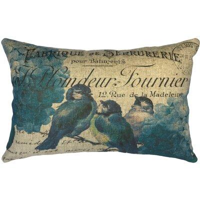 Palma Blue Birds Linen Lumbar Pillow