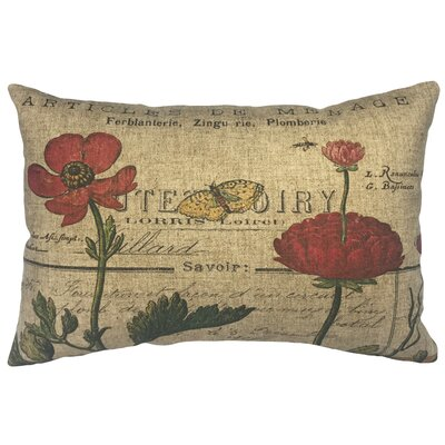 Norine French Flowers Linen Lumbar Pillow