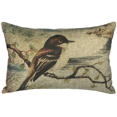 Raina Bird on Branch Linen Lumbar Pillow