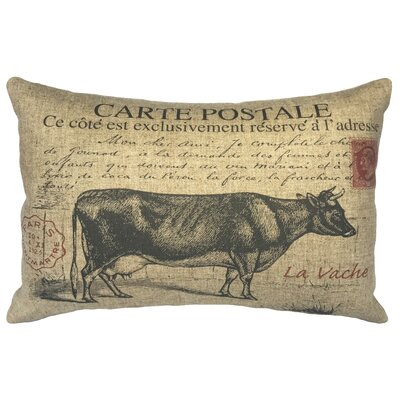Leavens Cow Postcard Linen Lumbar Pillow
