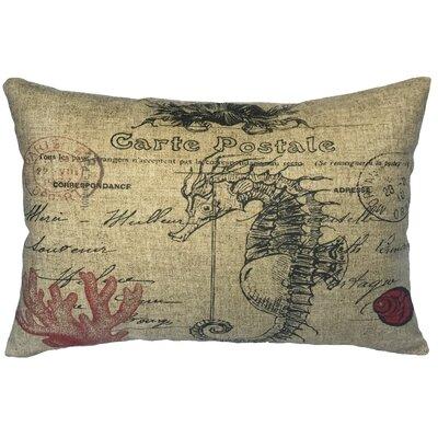 Bevers Coastal Seahorse Linen Lumbar Pillow