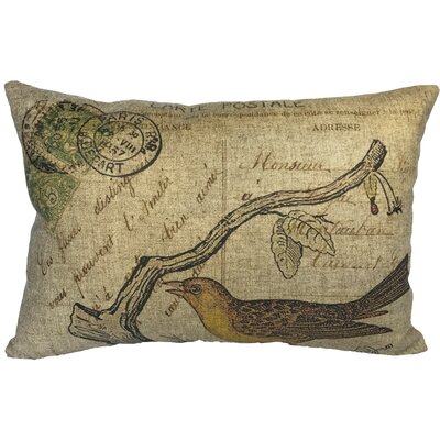 Campa Bird Postcard Linen Lumbar Pillow