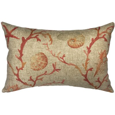 Bevilacqua Coral and Shells Linen Lumbar Pillow
