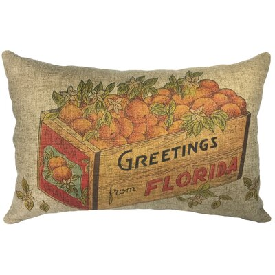 Biggerstaff Florida Oranges Linen Lumbar Pillow