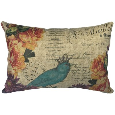 Rosario Blue Bird Linen Lumbar Pillow