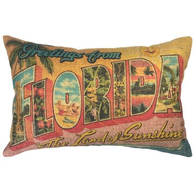 Biggins Florida Postcard Linen Lumbar Pillow