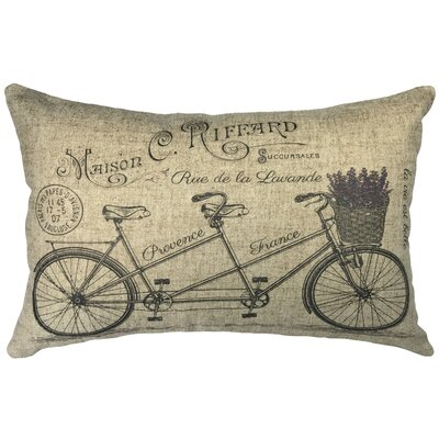 Rosina Lavander Bike Linen Lumbar Pillow