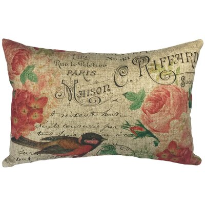 Saige Bird with Flowers Linen Lumbar Pillow