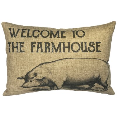 Lechner Farmhouse Pig Linen Lumbar Pillow