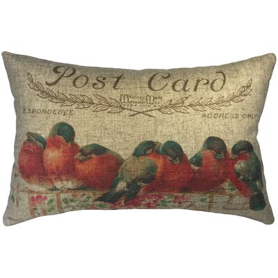 Canas Birds Post Card Linen Lumbar Pillow