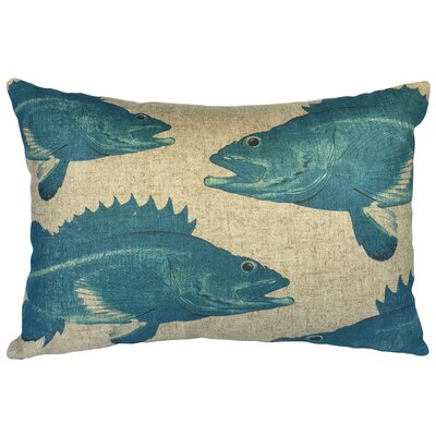 Biller Blue Fish Linen Lumbar Pillow