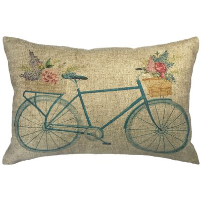 Lecroy Watercolor Bike Linen Lumbar Pillow