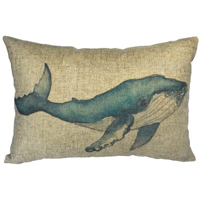 Billington Watercolor Whale Linen Lumbar Pillow
