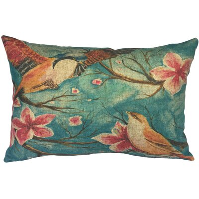 Cangelosi Watercolor Birds Linen Lumbar Pillow