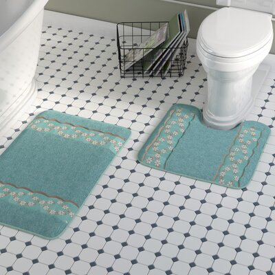 Hinckley 2 Piece Decorative Bath Rug Set Color: Aqua