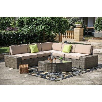 Pierceton 6 Piece Rattan Sectional Set with Cushions 7C63FE7476474A3AB4C029FD507502BA