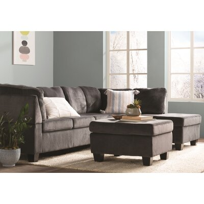 Hardin Sectional with Ottoman Upholstery: Charcoal gray