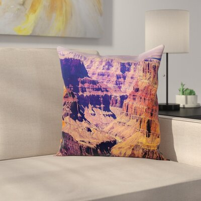 American Grand Canyon View USA Square Pillow Cover Size: 18 x 18