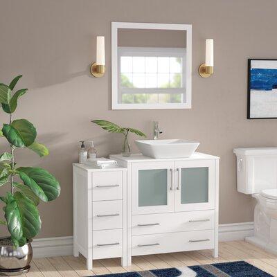 Karson Framed 42 Single Bathroom Vanity Set with Mirror Base Finish: White