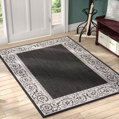 Annapolis Black Indoor/Outdoor Area Rug Rug Size: 5 x 7