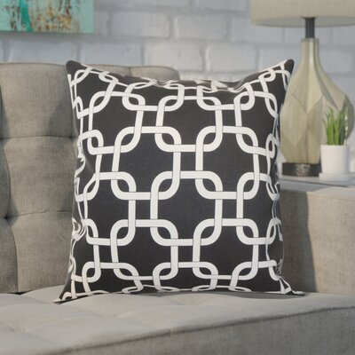 Sessums 100% Cotton Throw Pillow Color: Black, Size: 18 H x 18 W