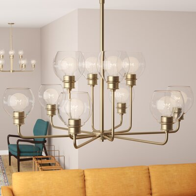 Maria 10-Light Shaded Chandelier Finish: Aged Brass