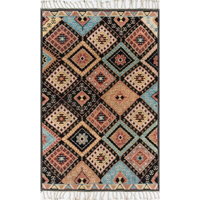 Chenoweth Hand-Knotted Wool Black/Brown Area Rug Rug Size: Rectangle 36 X 56