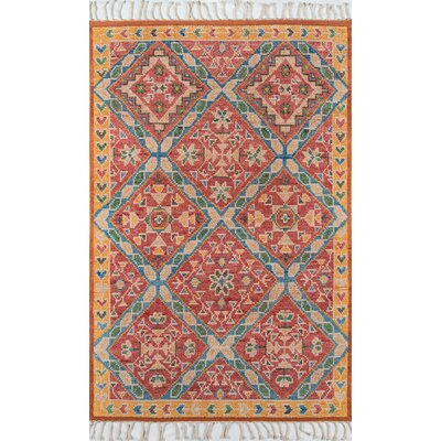 Chenoweth Hand-Knotted Wool Red/Yellow Area Rug Rug Size: Rectangle 8 X 11