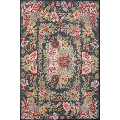 Chiu Black/Green/Pink Area Rug Rug Size: Rectangle 76 X 96