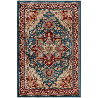 Ebner Blue/Red Area Rug Rug Size: Rectangle 76 X 96