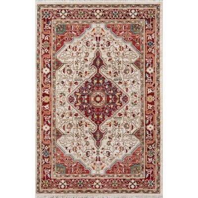 Ebner Red/Beige Area Rug Rug Size: Rectangle 96 X 126