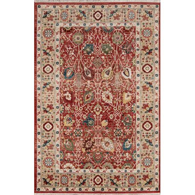 Ebner Red/Beige Area Rug Rug Size: Rectangle 33 X 53