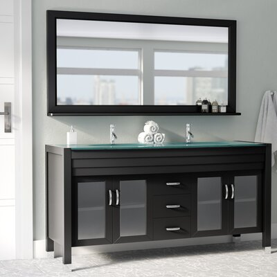 Frausto 63 Double Bathroom Vanity Set with Clear Top and Mirror Base Finish: Espresso, Faucet Finish: Polished Chrome