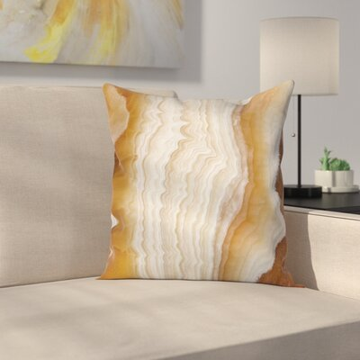 Cream Wavy Marble Effect Square Pillow Cover Size: 20 x 20