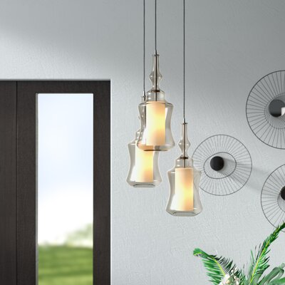 Cabell Triangle Pan 3-Light Cascade Pendant Shade Color: Champagne Plated