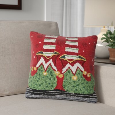 Elf Feet Holiday Hook Wool Throw Pillow