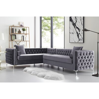 Kaufman Reversible Sectional Upholstery: Gray, Orientation: Left
